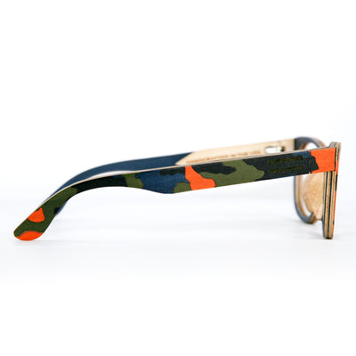 Orange camouflage wood sunglasses