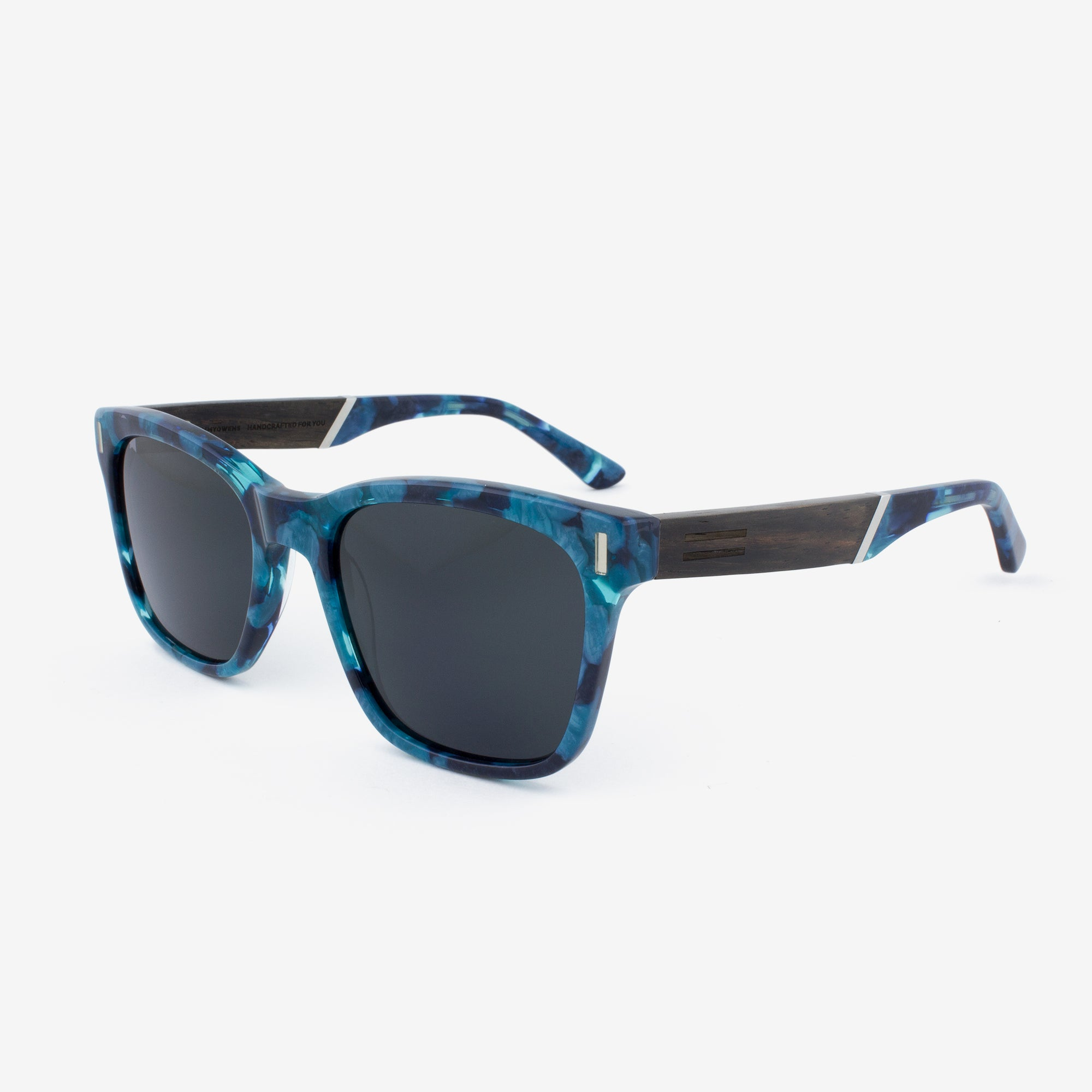 Flagler Paua Blue pearl acetate & wood sunglasses
