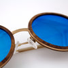 Largo burl and gold metal wooden sunglasses detail view