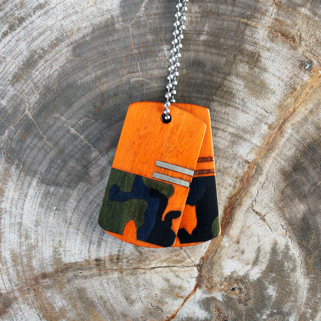 Orange Woodlands Wood Tags