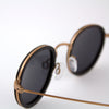 Pasco rose gold titanium ebony wood sunglasses detail view