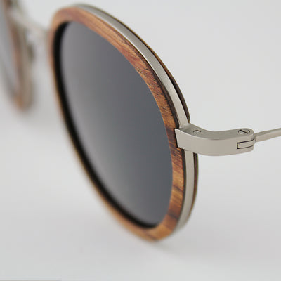 Pasco silver titanium black walnut wood sunglasses detail view