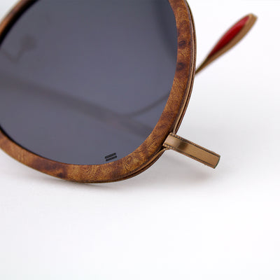 Richey copper lightweight titanium & burl wood sunglasses up close