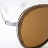 Richey silver lightweight titanium & walnut wood sunglasses up close