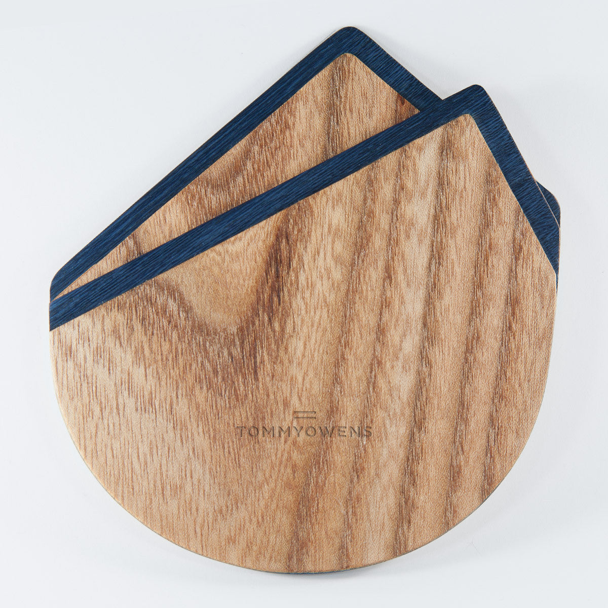 Wood Pocket Square | Teak &  Navy Blue