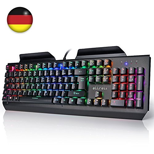 aLLreli Mechanische Gaming Tastatur, K643 Gaming Keyboard(Deutsch QWERTZ Layout, RGB LED- Beleuchtung, USB Kabel Tastatur mit Blaue Switches)
