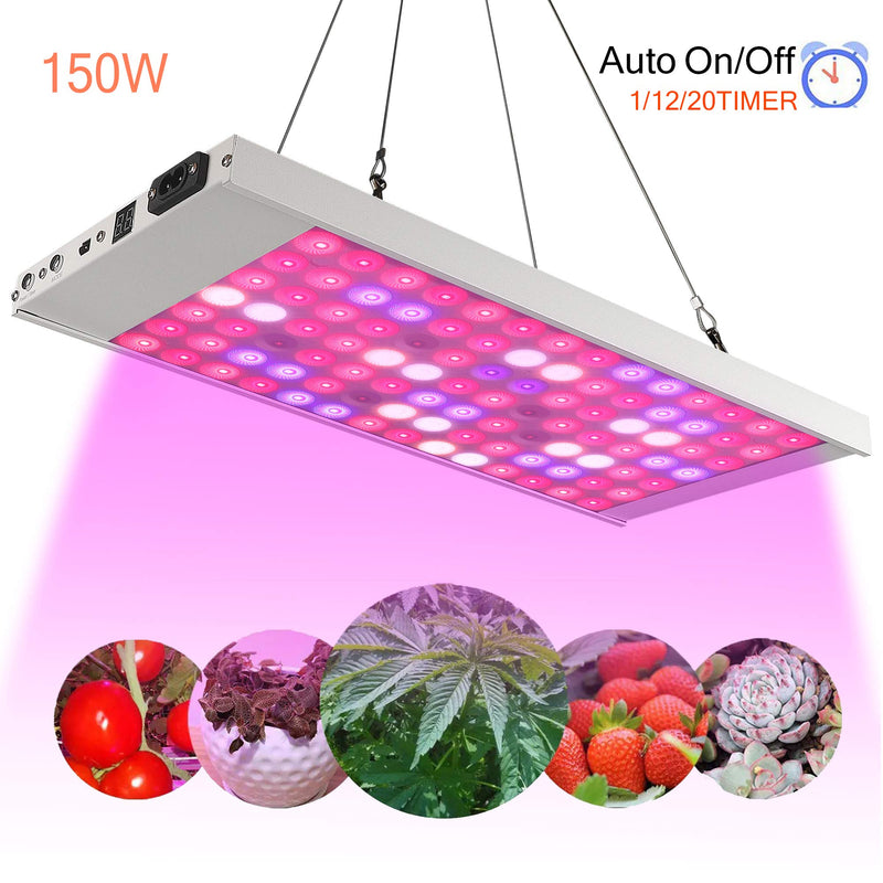 150W 98 LED Pflanzenlampe, Timer Fernbedienung 3 Modi Vollspektrum Grow Light Pflanzenlicht, Grow Lamp für Zimmerpflanzen Blumen und Gemüse tageslicht-weiß