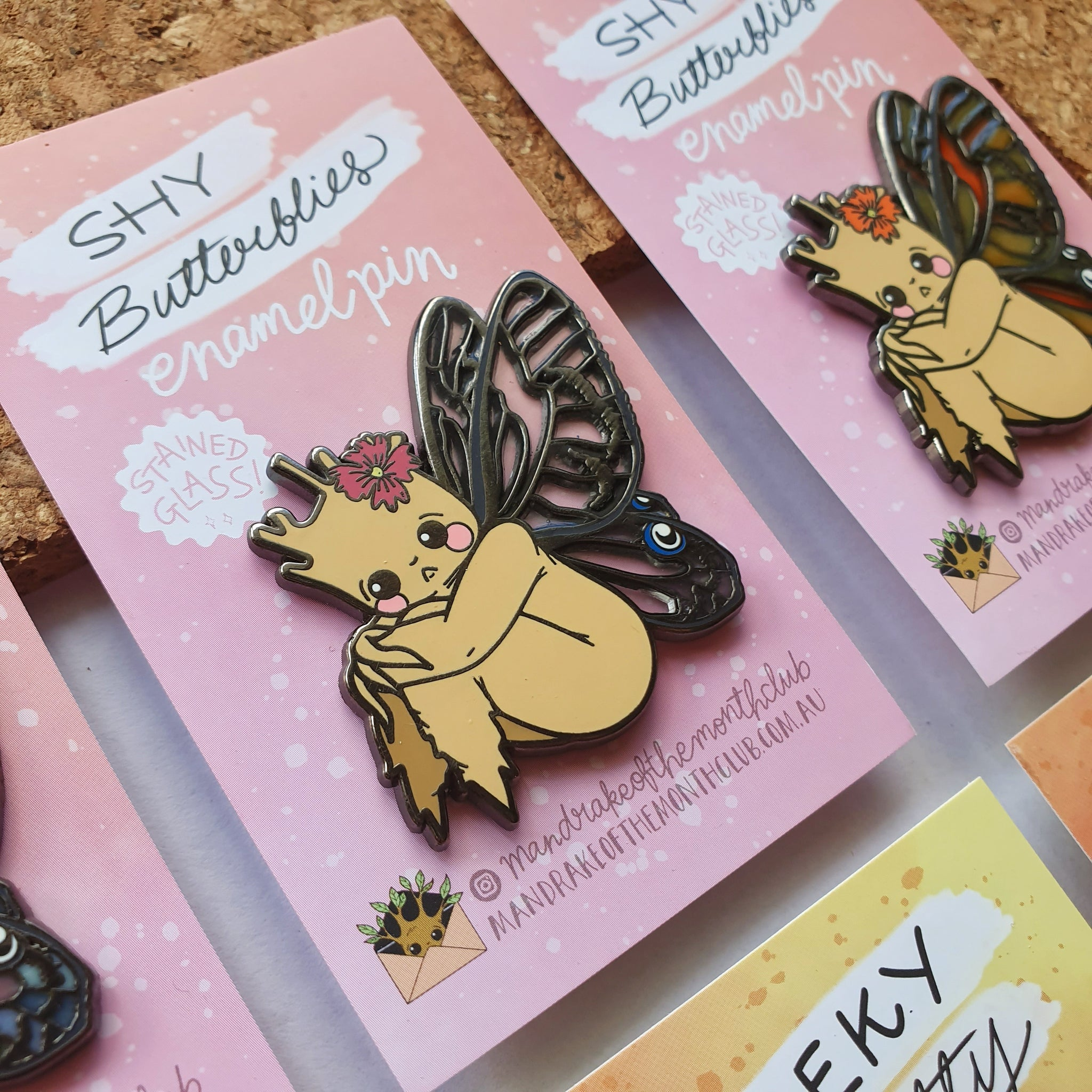 Shy Butterfly Enamel Pin | Blushing Phantom