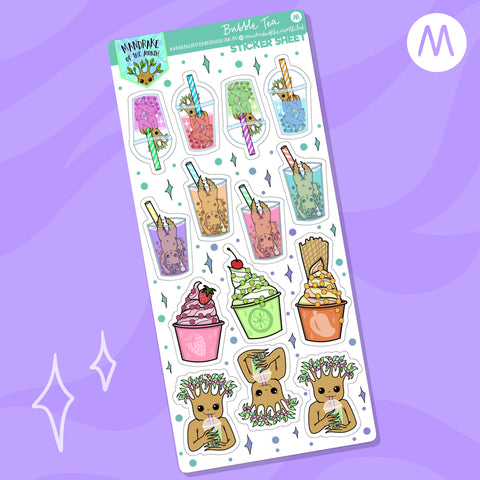 Bubble Tea Planner Sticker Sheet