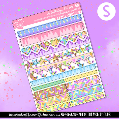 Birthday Strips Planner Sticker Sheet