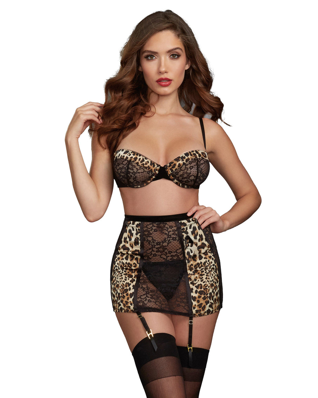 3-Piece Garter Set with Cheetah Print Satin Charmeuse Details Bra Set Dreamgirl International