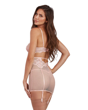3-Piece Set: Fishnet and Lace Bra, Garter Skirt, and G-String Garter Set Dreamgirl International