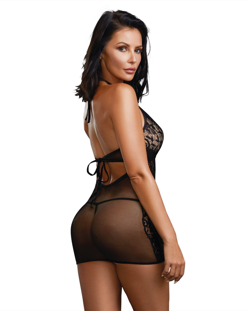 Baby Fishnet and Lace Halter Chemise with Matching G-String Chemise Dreamgirl International