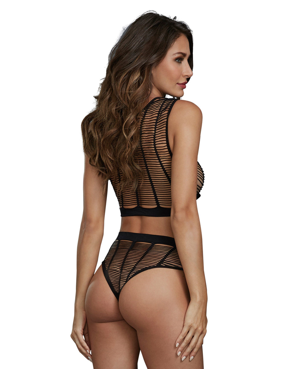Caged Style Seamless Knit Crop Top and High-Waisted Panty Lingerie Set Dreamgirl International