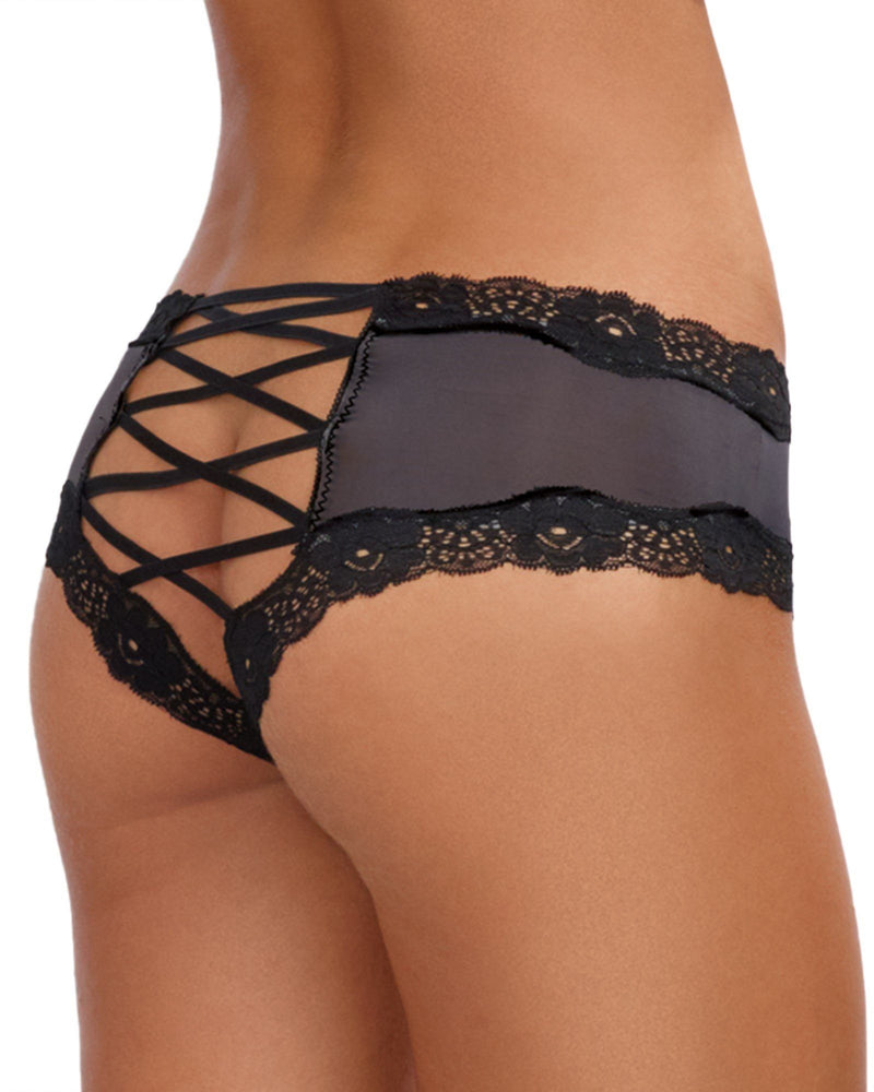 Criss-Cross Back Cheeky Panty Panty Dreamgirl International S Iris / Black