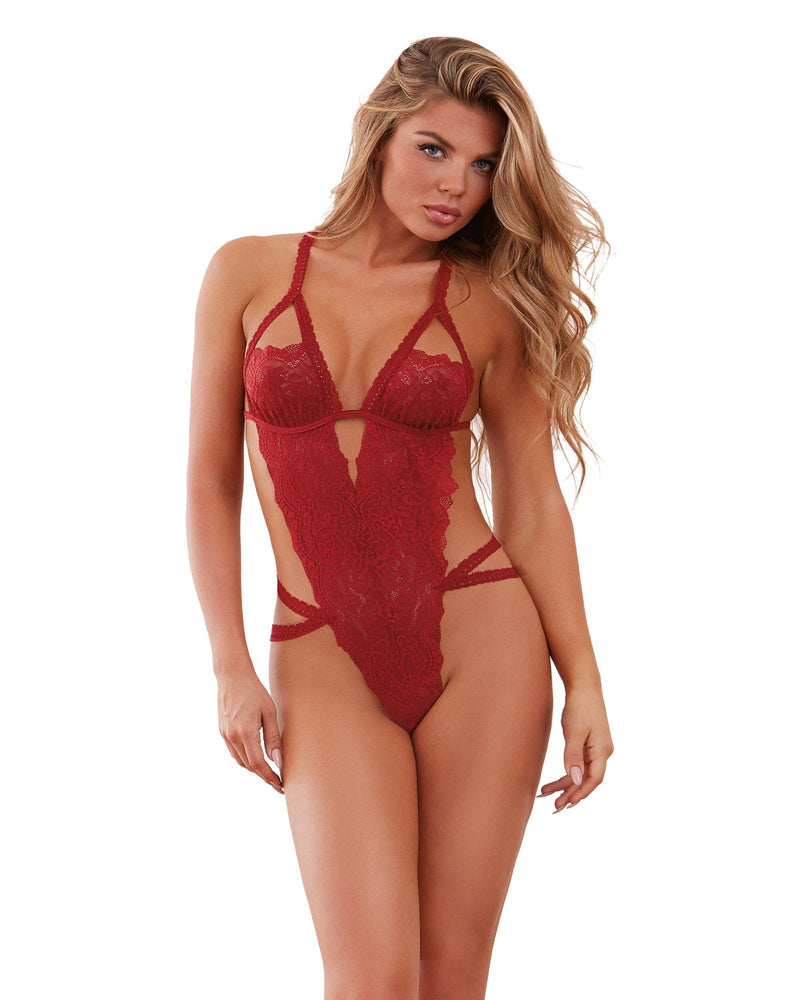 Crotchless Strappy Lace Teddy Teddy Dreamgirl International