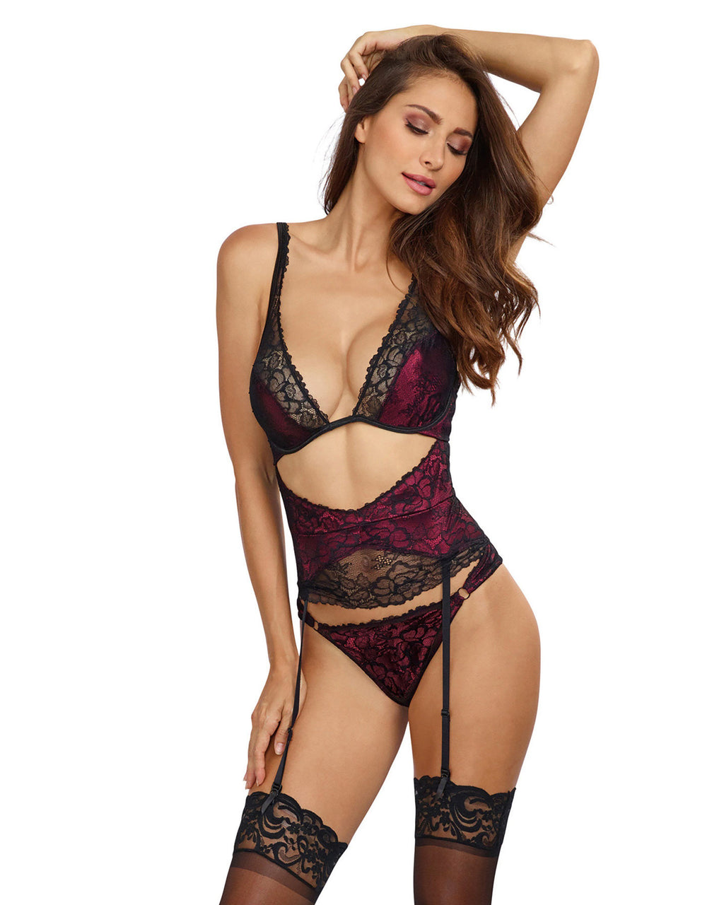 Cutout Lace Overlay Teddy Teddy Dreamgirl International