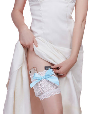 Discreet Lace Garter Wallet Garter Wallet Dreamgirl International S/M White / Light Blue