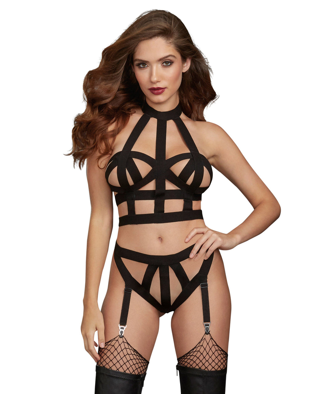 Elastic Strappy Collared Bralette and Garter Panty Fetish Set Fetish Dreamgirl International