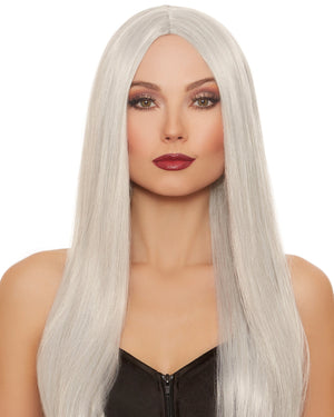 Extra-Long Straight Wig Wig Dreamgirl Costume Adjustable Gray / White Mix