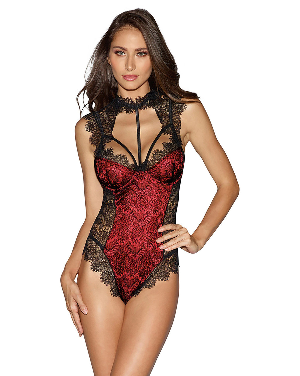 Eyelash Lace Contrast Lining Teddy Teddy Dreamgirl International XS Black / Red