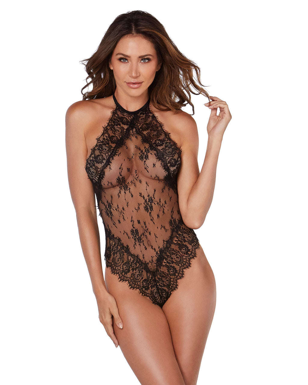 Eyelash lace Halter Teddy Teddy Dreamgirl International XS Black