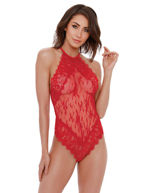 Eyelash lace Halter Teddy Teddy Dreamgirl International XS Lipstick Red
