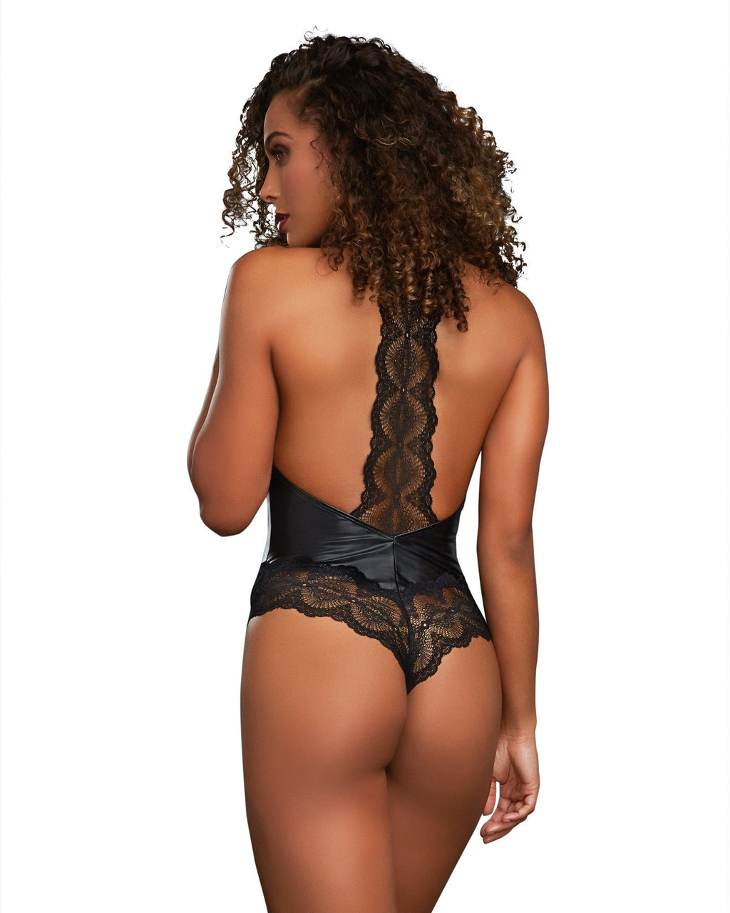 Faux Leather Halter Bodysuit with Thong Back Bodysuit Dreamgirl International