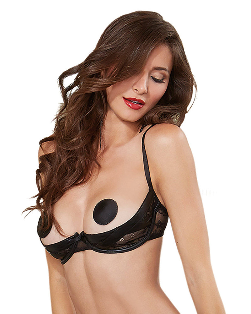 Faux Vinyl & Lace Open-Cup Bra Bra Dreamgirl International