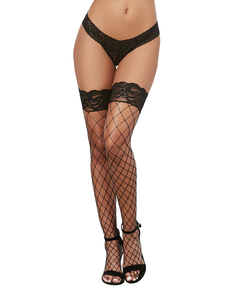Fence Net Thigh High Stockings with Silicone Lace Top Thigh Highs Dreamgirl International