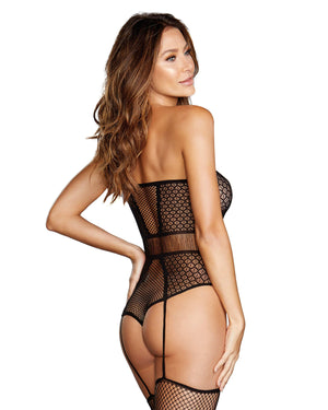Fishnet & Geometric-Pattern Strapless Teddy Bodystocking Bodystocking Dreamgirl International