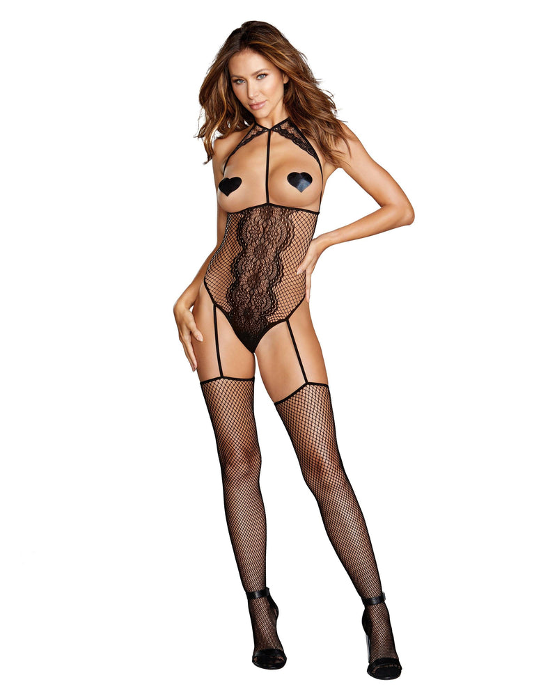 Fishnet & Lace Open-Cup Teddy Bodystocking Bodystocking Dreamgirl International