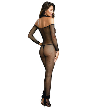 Fishnet Off-The-Shoulder Bodystocking with Attached Collar Bodystocking Dreamgirl International