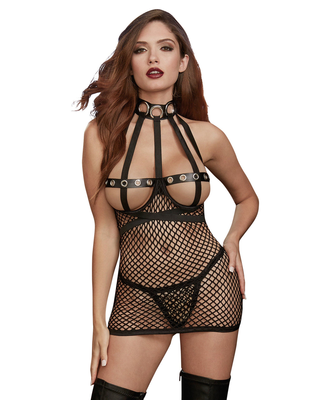 Fishnet Open Cup Chemise Fetish Play Set Fetish Dreamgirl International