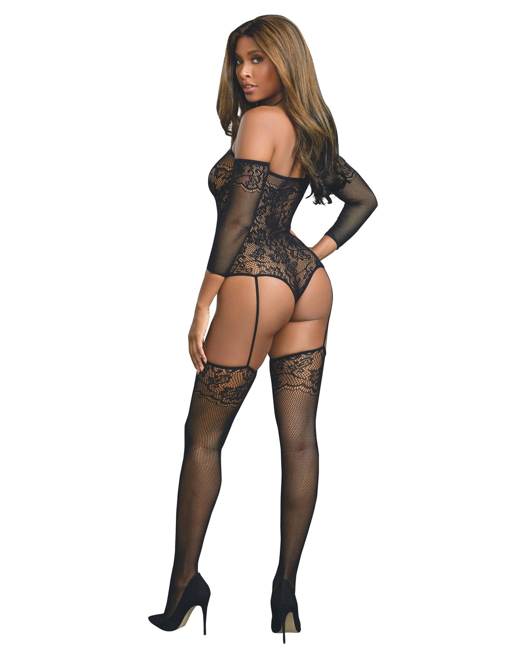 Fishnet Teddy Bodystocking with Attached 3/4 Length Sleeves Bodystocking Dreamgirl International
