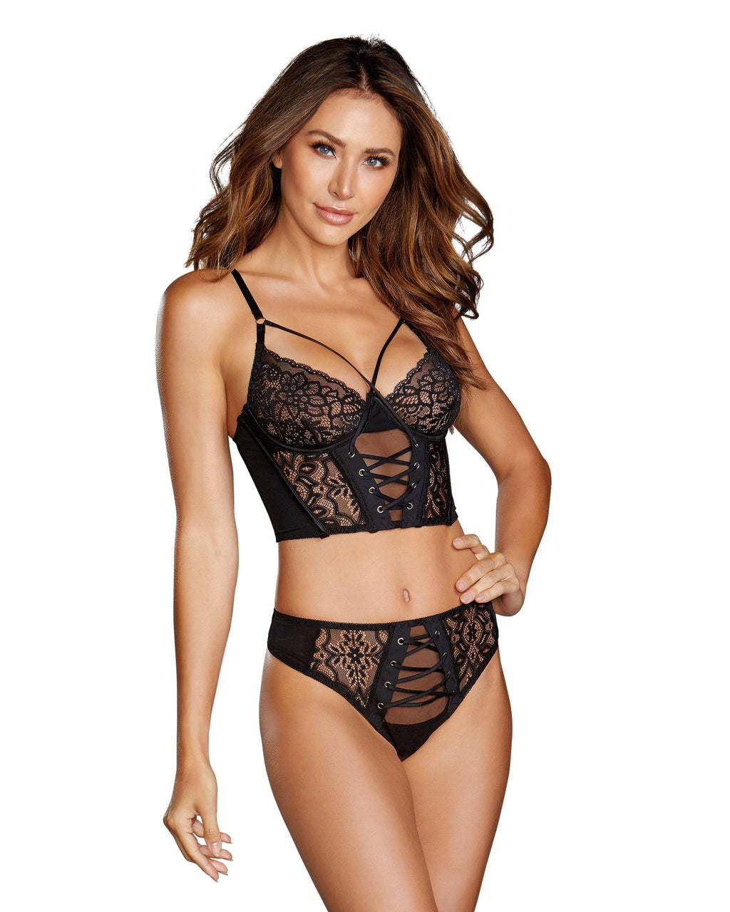 Galloon Lace Underwire Bustier & Panty Bustier Dreamgirl International