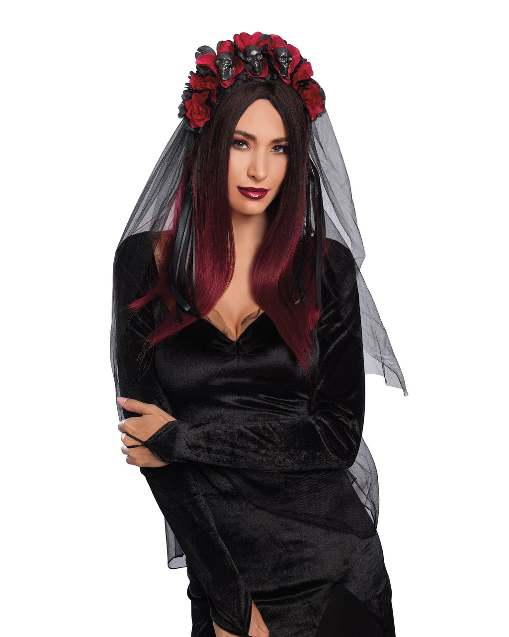 Gothic Flower and Skull Headpiece Headpiece Dreamgirl Costume