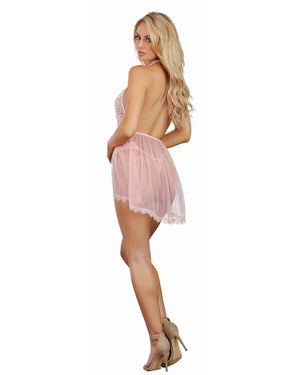 Halter Plunge Lace Teddy with Attached Flyaway Skirt Teddy Dreamgirl International