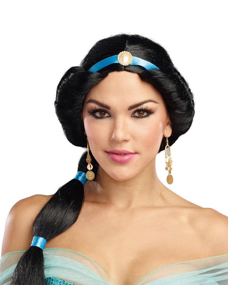 Harem Princess Wig with Attached Ribbon and Pearl Jewel Wig Dreamgirl Costume