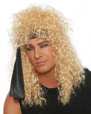 Heavy Metal Rocker Wig with Black Head Wrap Wig Dreamgirl Costume