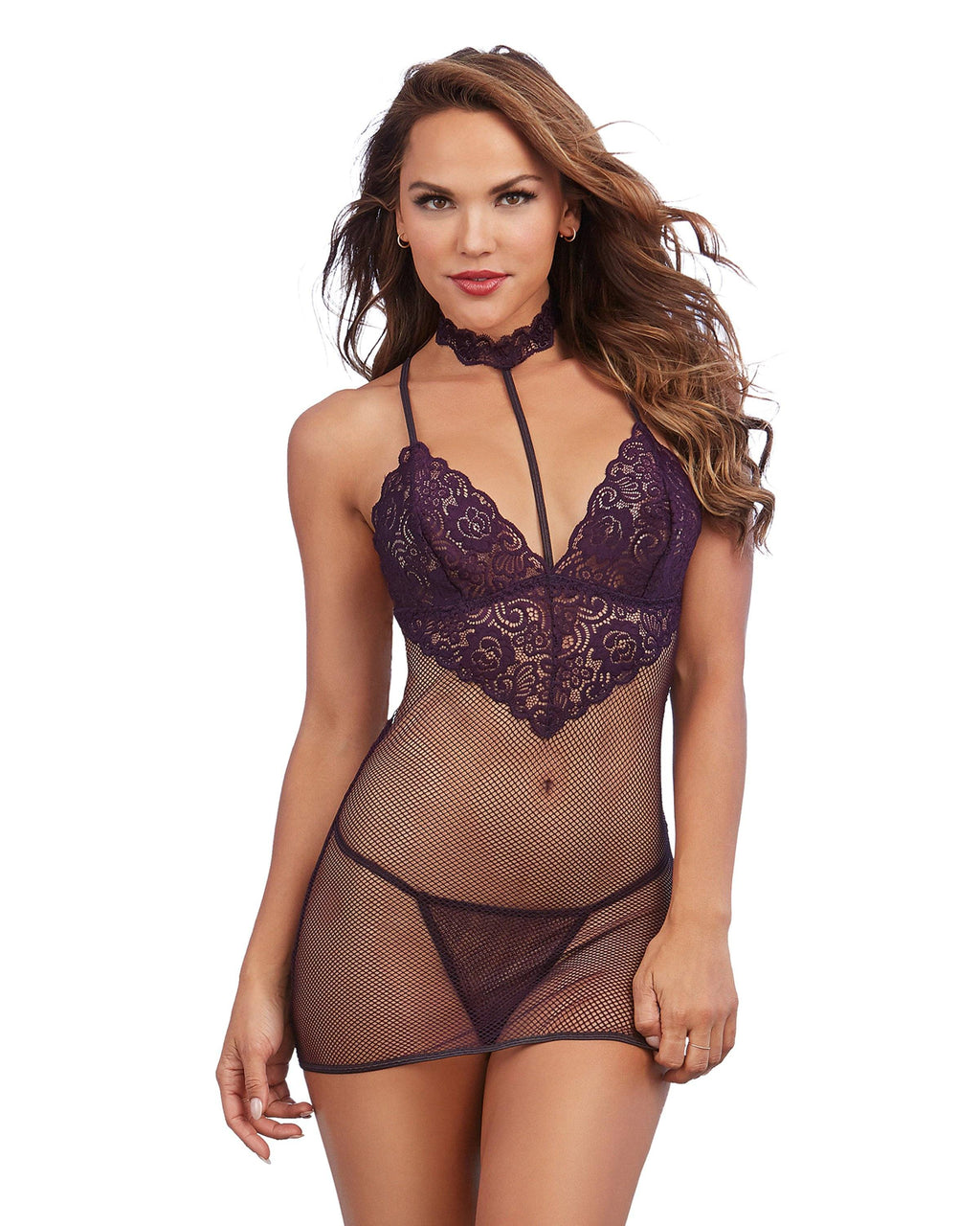 Lace and Fishnet Chemise with Stretch Lace Collar Chemise Dreamgirl International