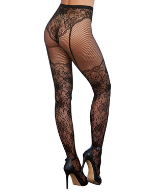 Lace and Fishnet Pantyhose with High-Waisted Lace Panty Design Pantyhose Dreamgirl International