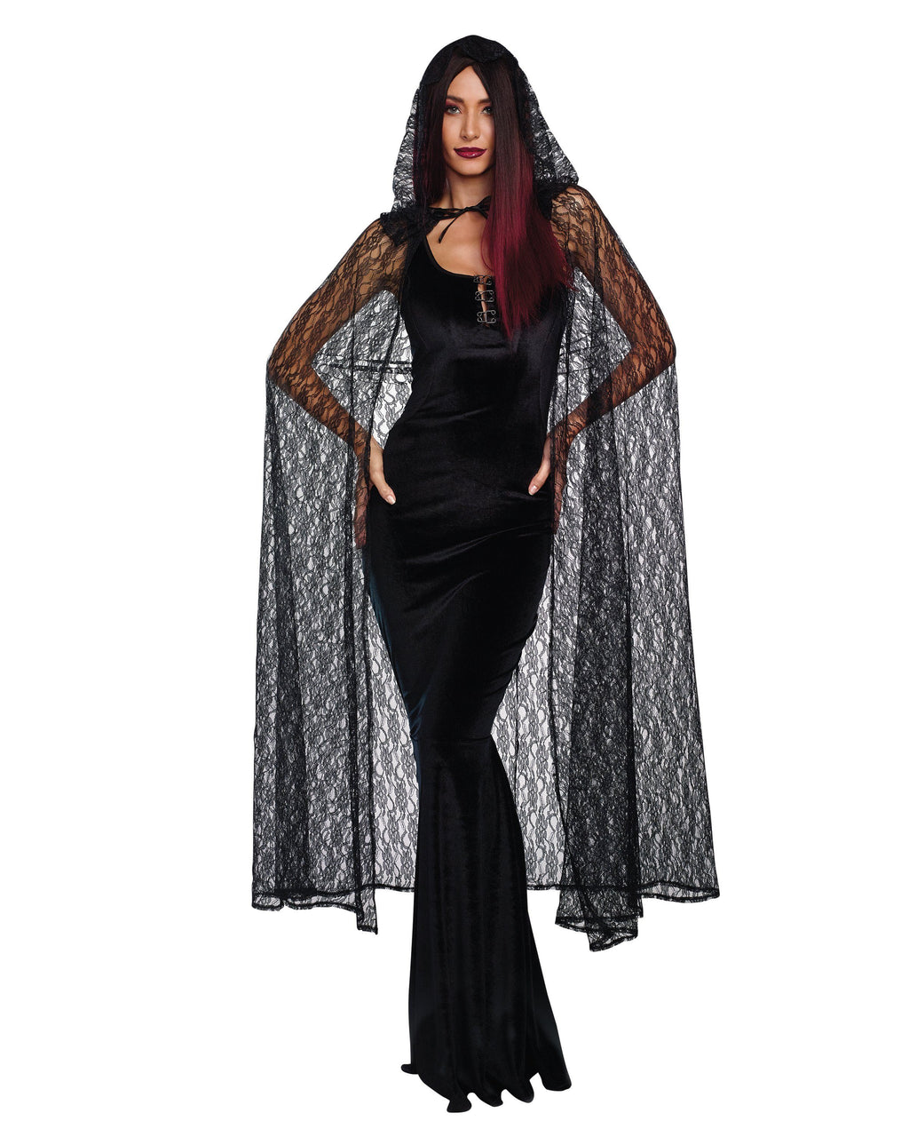 Lace Cape with Hood Costume Accessory Dreamgirl Costume One Size Black