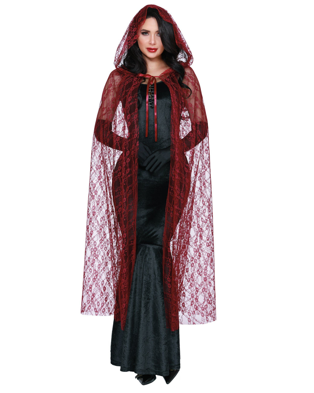 Lace Cape with Hood Costume Accessory Dreamgirl Costume One Size Garnet
