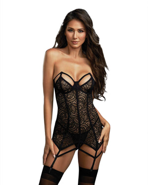 Lace Garter Slip with Architectural Detailing and Thong Set Garter Slip Dreamgirl International