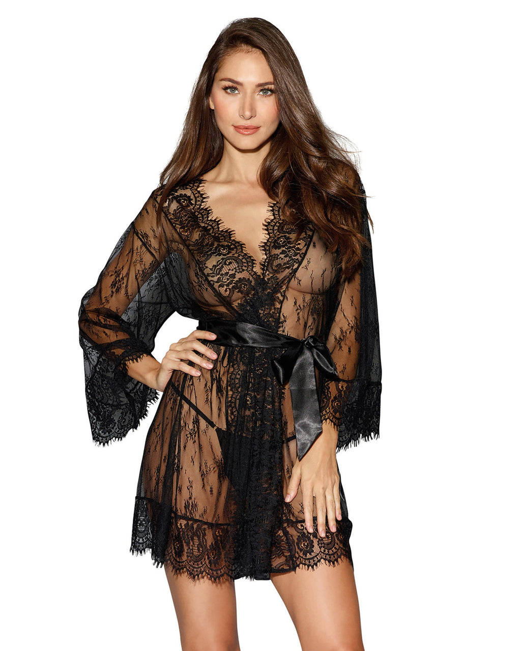 Lace Kimono Robe Robe Dreamgirl International S Black
