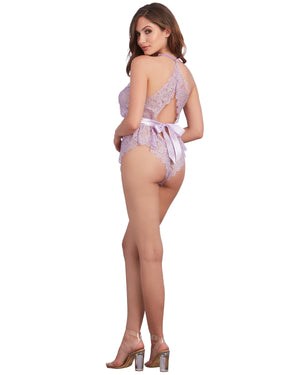 Lace Romper with Eyelash Lace Trim and Open Back Romper Dreamgirl International