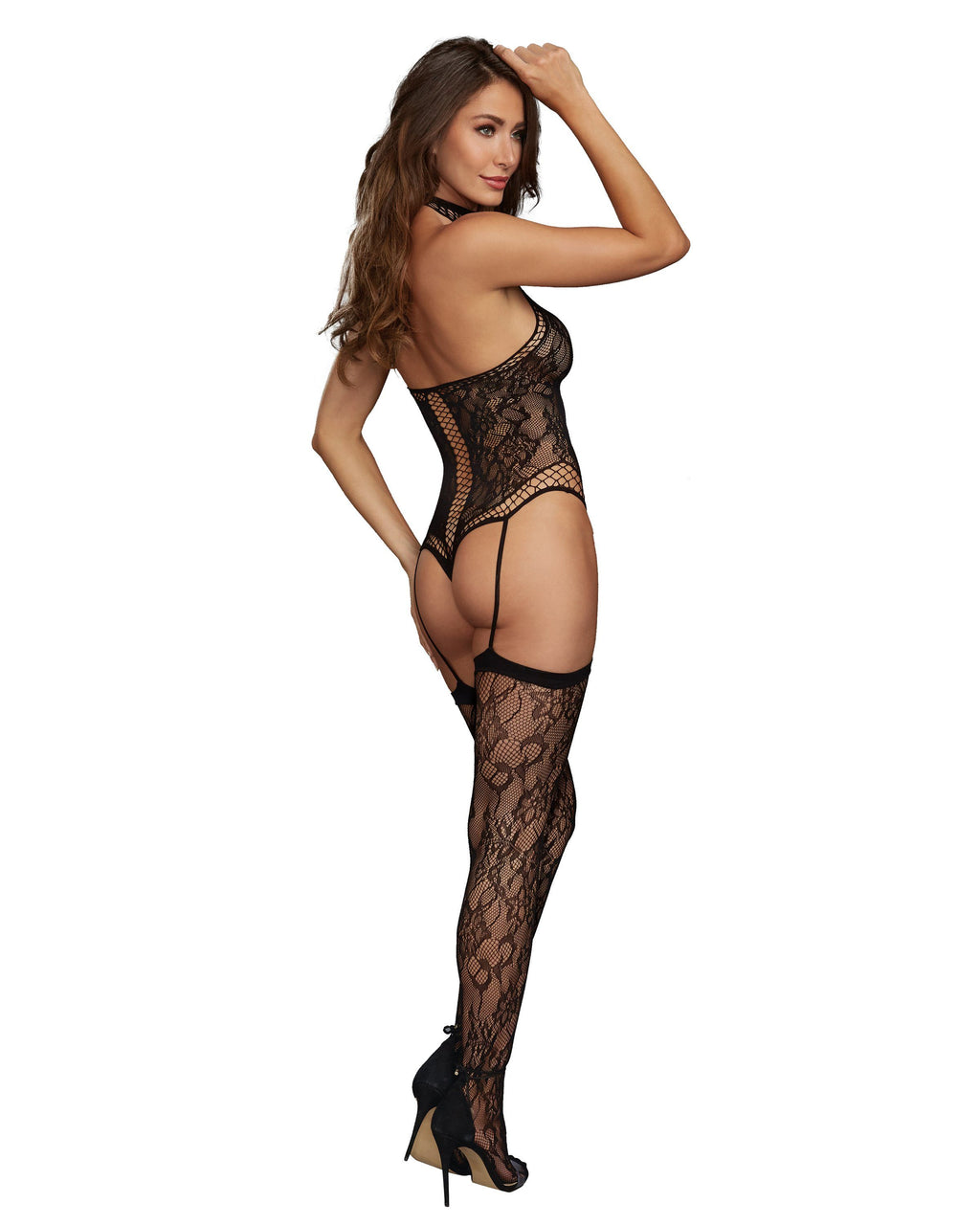 Lace Teddy Bodystocking with Criss-Cross Detailing Bodystocking Dreamgirl International