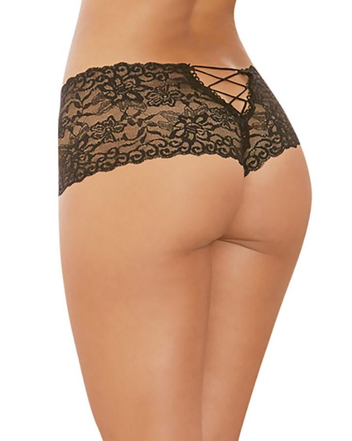 Lace-Up Back Crotchless Boyshorts Panty Dreamgirl International