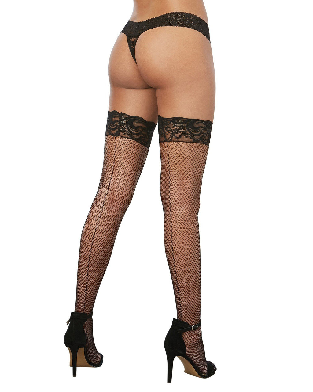 Laced Stay-up Fishnet Thigh High Thigh Highs Dreamgirl International One Size Black
